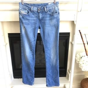Diesel LIV Blue Light/Med Wash Straight Leg Jeans